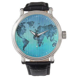 World Map | Neon Blue Stripes Watches