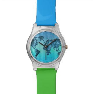 World Map | Neon Blue Stripes Wrist Watch