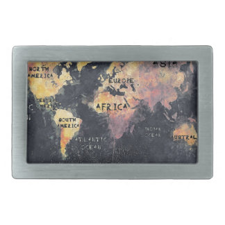 world map OCEANS and continents Belt Buckle