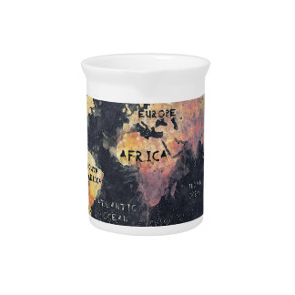 world map OCEANS and continents Beverage Pitchers