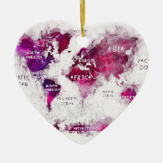 world map OCEANS and continents Ceramic Heart Decoration