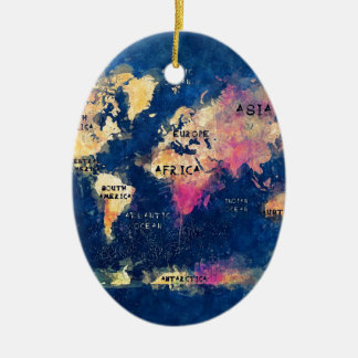 world map OCEANS and continents Ceramic Oval Decoration