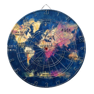 world map OCEANS and continents Dartboard