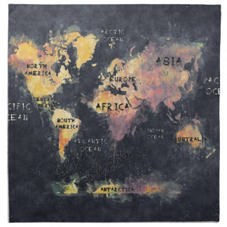 world map OCEANS and continents Napkin