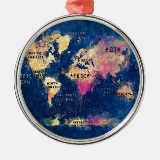 world map OCEANS and continents Silver-Colored Round Decoration