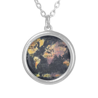 world map OCEANS and continents Silver Plated Necklace