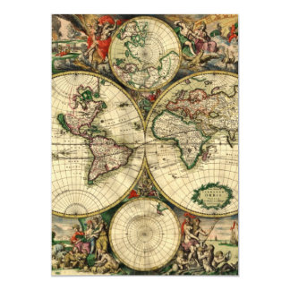 World Map of 1689 Gifts 13 Cm X 18 Cm Invitation Card