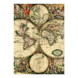 World Map of 1689 Gifts Personalized Announcement