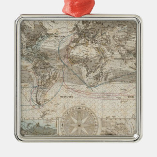 World map of Air Flow Christmas Ornament