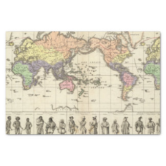 World Map of Clothing Styles Tissue Paper