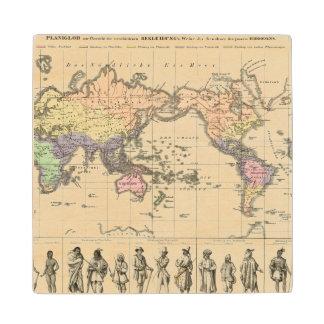 World Map of Clothing Styles Wood Coaster
