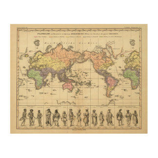 World Map of Clothing Styles Wood Print