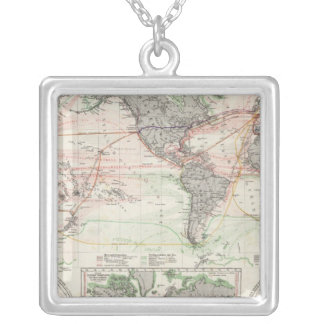 World Map of Ocean Currents Silver Plated Necklace