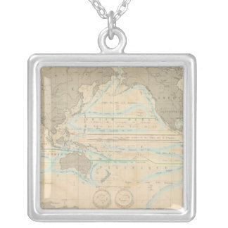 World Map of the Climate Silver Plated Necklace