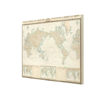 World Map of the Shipping Canals Canvas Print