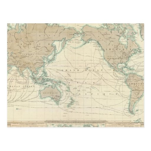 World Map of the Shipping Canals Post Cards
