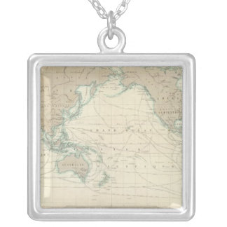 World Map of the Shipping Canals Silver Plated Necklace