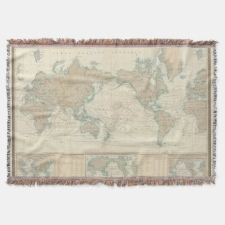 World Map of the Shipping Canals Throw Blanket