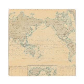 World Map of the Shipping Canals Wood Coaster
