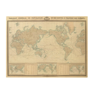 World Map of the Shipping Canals Wood Wall Art