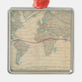 World Map of the Vegetation Silver-Colored Square Decoration