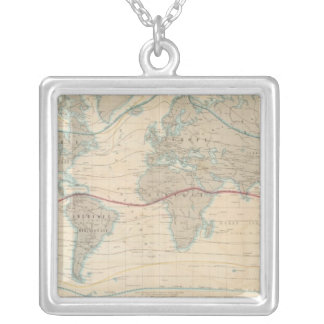 World Map of the Vegetation Silver Plated Necklace