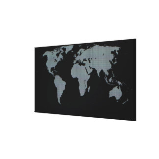 World Map on Computer Monitor Canvas Print