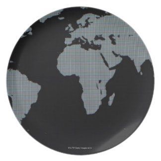 World Map on Computer Monitor Plate