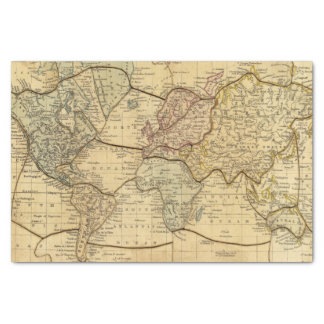 World map on Mercators Projection Tissue Paper