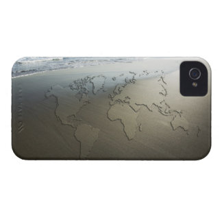 World map on sand iPhone 4 covers