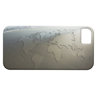 World map on sand iPhone 5 cases