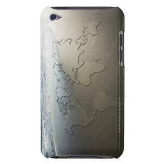 World map on sand iPod touch cover