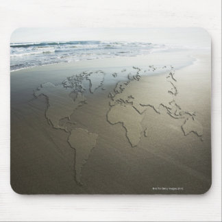 World map on sand mouse mat