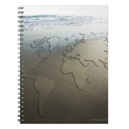 World map on sand notebooks
