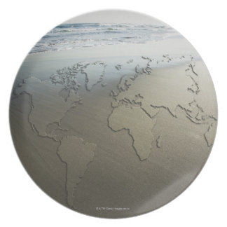 World map on sand plate