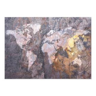 World Map on Stone Background 13 Cm X 18 Cm Invitation Card