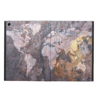 World Map on Stone Background Case For iPad Air