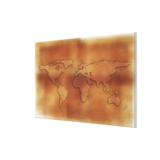 World map on textured background canvas print