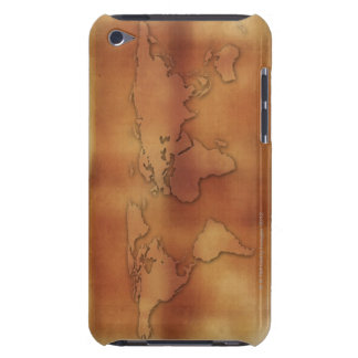 World map on textured background iPod Case-Mate case