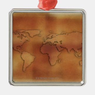World map on textured background Silver-Colored square decoration