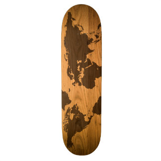 World Map on Wood Grain 19.7 Cm Skateboard Deck