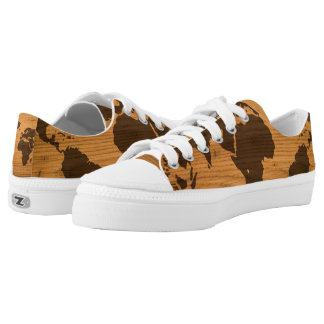 World Map on Wood Grain Low Tops