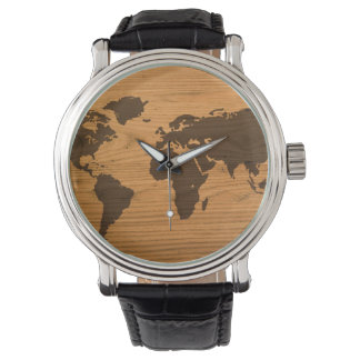 World Map on Wood Grain Watch