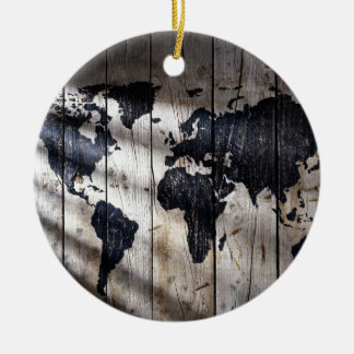 World map on wood texture christmas ornament