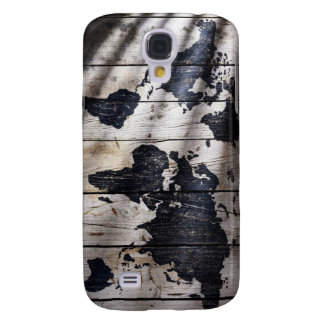 World map on wood texture galaxy s4 case