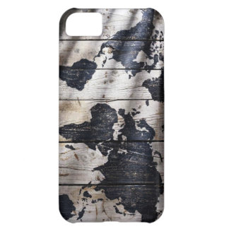 World map on wood texture iPhone 5C case