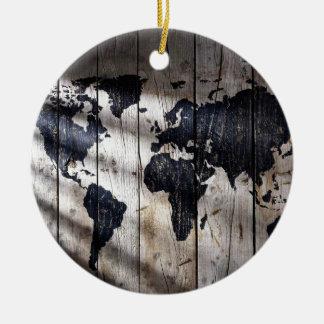 World map on wood texture round ceramic decoration