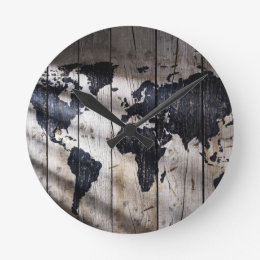 World map wall clocks zazzle world map on wood texture round clock gumiabroncs Images