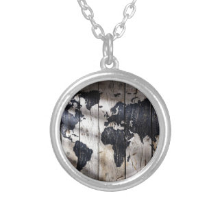 World map on wood texture silver plated necklace