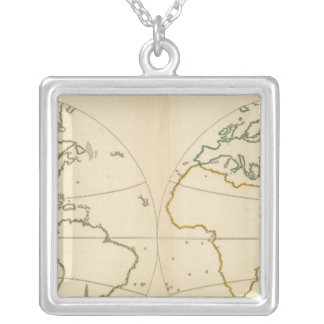 World Map Outline Silver Plated Necklace